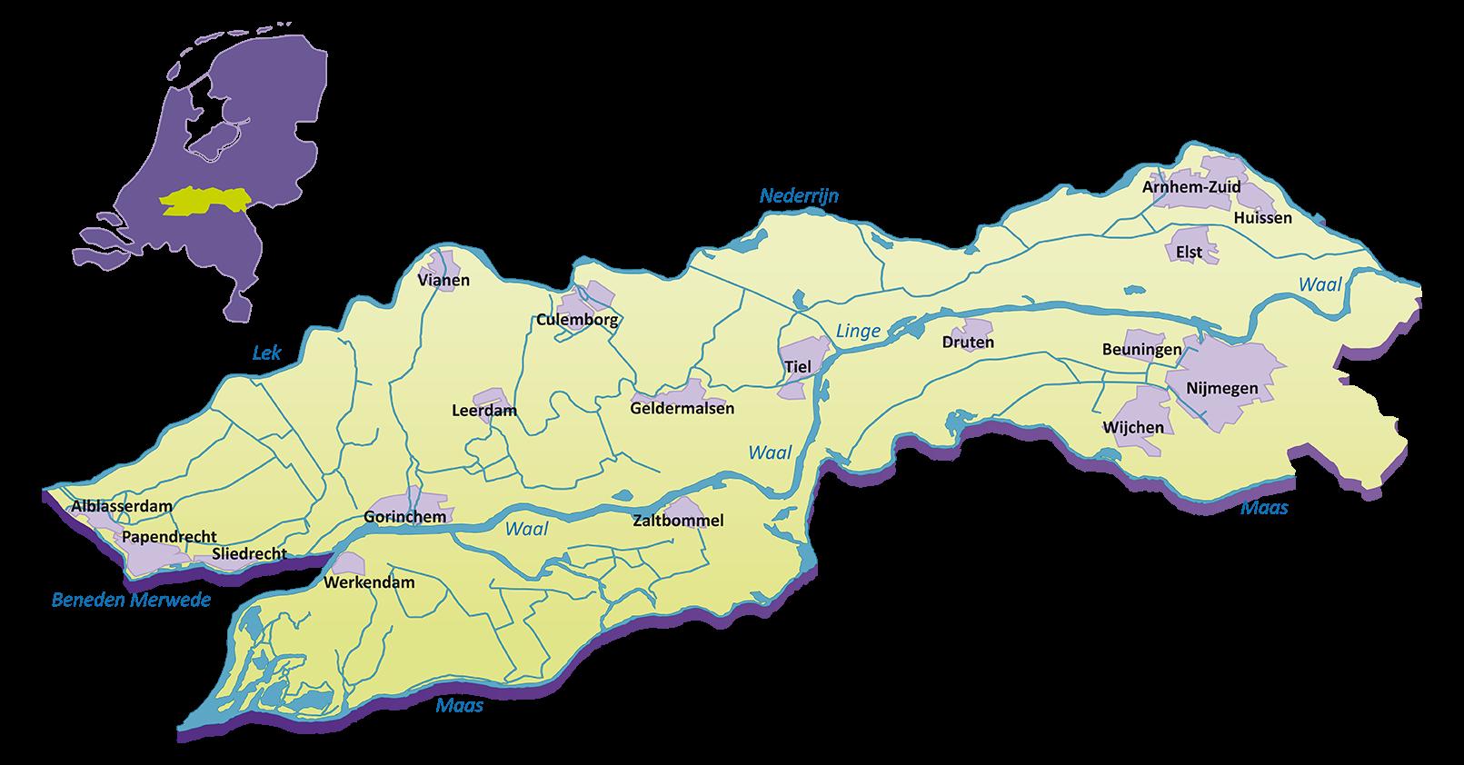 Afbeeldingsresultaat voor rivierenland kaart